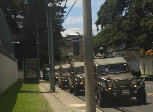 Photo of military vehicles outside of CICIGAug2018